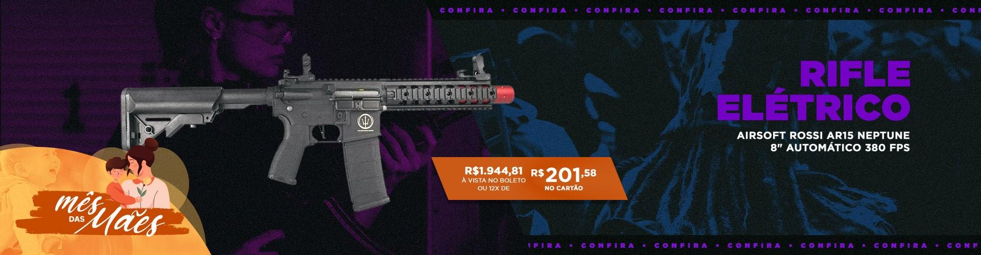 "Rifle Elétrico Airsoft Rossi AR15 Neptune 8"""