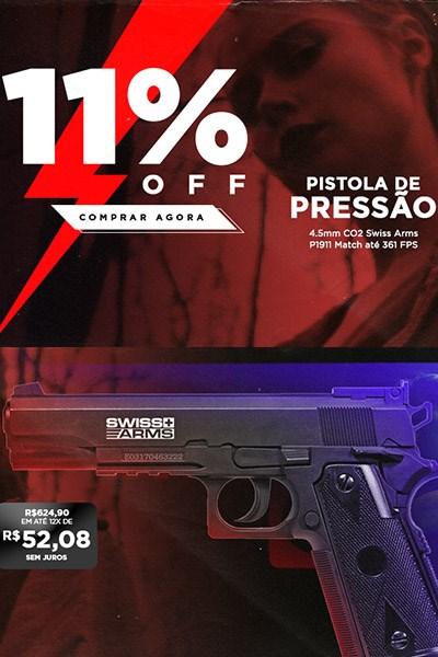 Pistola de Pressão 4.5mm CO2 Swiss Arms P1911