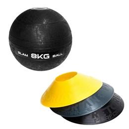 12 Half Cones Chapéu Chinês Pretorian + Bola Medicine Slam Ball 8 KG LIVEUP
