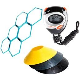 12 Half Cones Chapéu Pretorian + 6 Grades de Agilidade LiveUp + Cronômetro Vollo