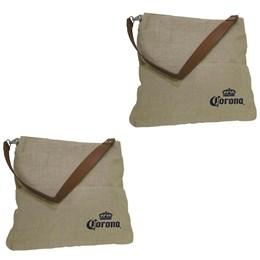 2 Bolsas Corona Bag Multiuso com 2 Bolsos Externos e Alça em Couro