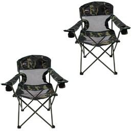 2 Cadeiras Dobráveis com 2 Porta Copos Fresno Nautika Camuflado
