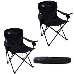 2 Cadeiras Dobráveis com 2 Posta Copos Pandera Nautika Preto