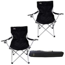 2 Cadeiras Dobráveis com Porta Copo Alvorada Nautika Preto