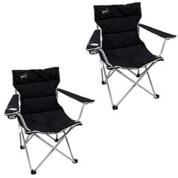 2 Cadeiras Dobráveis Nautika Boni com Porta Copo Preto