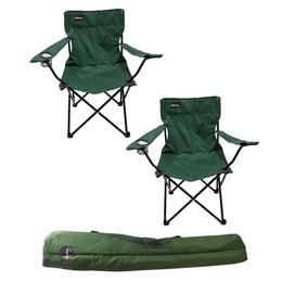 2 Cadeiras Dobráveis para Camping Alvorada Verde com Porta Copos Nautika