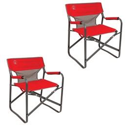 2 Cadeiras Dobráveis para Camping Steel Deck Coleman Vermelha
