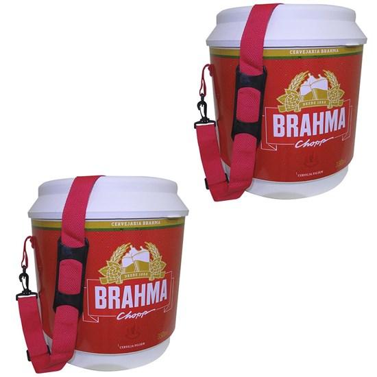 2 Coolers Térmico Brahma Brasil 20 Litros 12 Latas com Alça de Transporte