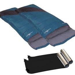 2 Sacos de Dormir Nautika Liberty Azul + Isolantes Térmicos E.V.A. Aluminizado