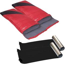2 Sacos de Dormir Nautika Liberty Vermelho + 2 Isolantes Térmico Aluminizado