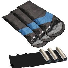 3 Sacos de Dormir Viper Sarcófago 5ºC + 3 Isolantes Térmicos - Nautika