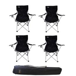 4 Cadeiras Dobráveis Alvorada Cor Preta com Porta Copo Nautika