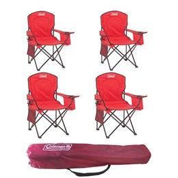 4 Cadeiras Dobráveis com Cooler Térmico e Porta Copo Coleman Vermelho