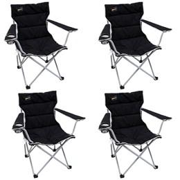 4 Cadeiras Dobráveis Nautika Boni com Porta Copo Preto