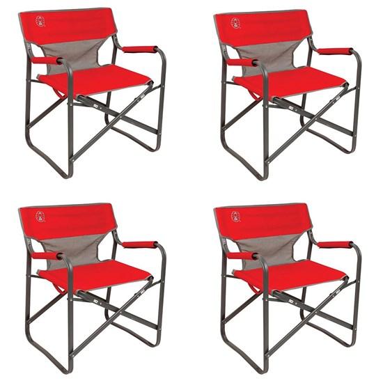 4 Cadeiras Dobráveis para Camping Steel Deck Coleman Vermelha