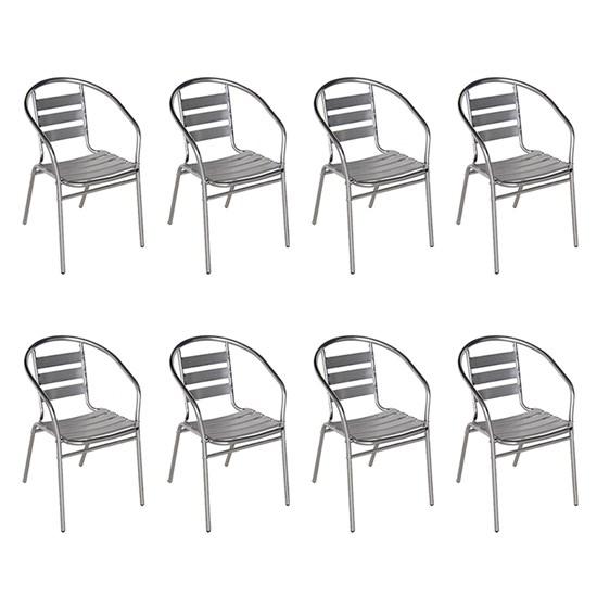 8 Cadeiras Poltrona em Alumínio para Jardim/Áreas Externas - MOR