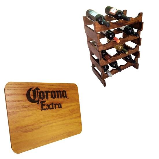Adega Art Madeira para 16 Garrafas Vinho de Chão + Tábua de Madeira Corona Extra 24,5 x 17,5 cm
