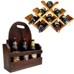 Adega Art Madeira tipo Colmeia para 8 Vinhos + Cesta Artesanal Porta Bebidas 3 Garrafas