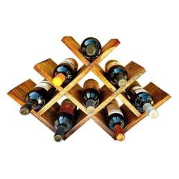 Adega Art Madeira tipo Colmeia para 8 Vinhos Chão + Tábua de Madeira Corona Extra 24,5 x 17,5 cm