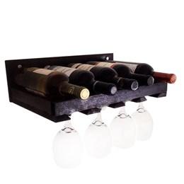 Adega de Parede Art Madeira Compacta 5 Garrafas de Vinho Porta Taças Marrom