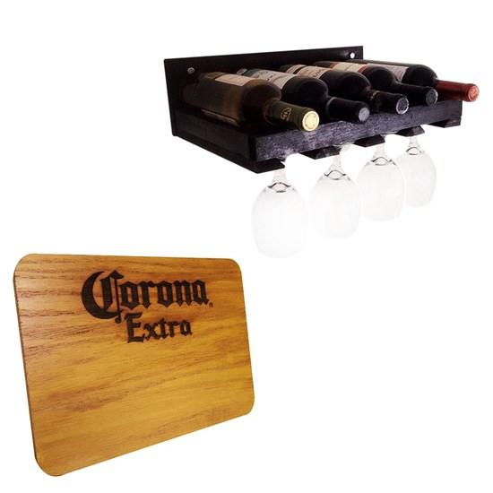 Adega de Parede Art Madeira Compacta 5 Garrafas Vinho + Tábua de Madeira Corona Extra 24,5 x 17,5 cm