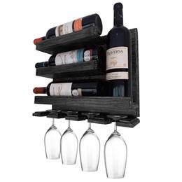 Adega de Parede Art Madeira para 4 Garrafas de Vinho e Porta Taças Preto