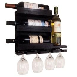Adega de Parede Art Madeira para 4 Garrafas de Vinho + Tábua de Madeira Corona Extra 24,5 x 17,5 cm