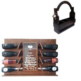 Adega de Parede Art Madeira para Champagne 8 Garrafas + Cesta Porta Cervejas Artesanais 3 Garrafas