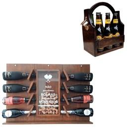 Adega de Parede Art Madeira para Champagne 8 Garrafas + Cesta Porta Cervejas Long Necks 6 Garrafas