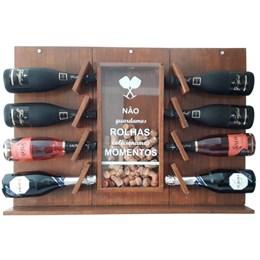 Adega de Parede Art Madeira para Champagne 8 Garrafas + Cesta Porta Long Necks com Divisória