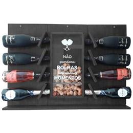 Adega de Parede Art Madeira para Espumante e Champagne 8 Garrafas Preta