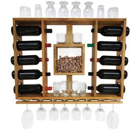 Adega de Vinho em Madeira Pinus com Porta Rolhas para 10 Garrafas e 10 Taças