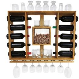 Adega de Vinho em Madeira Pinus Imbuia com Porta Rolhas para 10 Garrafas e 10 Taças