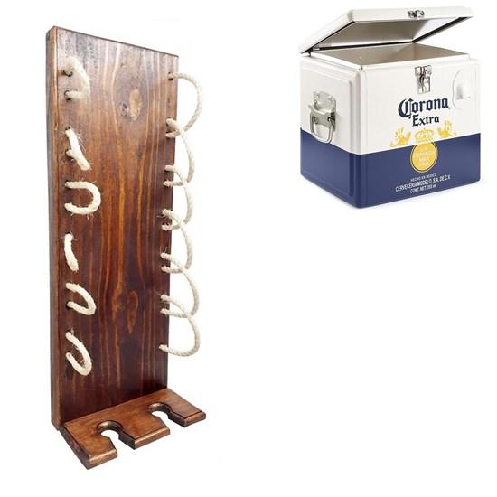 Adega Vertical de Parede Art Madeira com Sisal 6 Garrafas + Caixa Térmica Cooler Corona 15 Litros