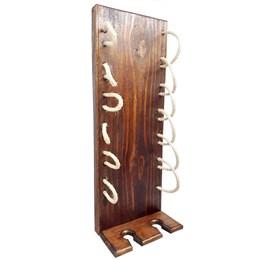 Adega Vertical de Parede Art Madeira com Sisal + Cesta Porta Cervejas Long Necks até 6 Garrafas