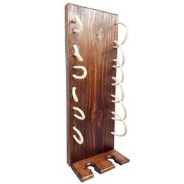 Adega Vertical de Parede Art Madeira com Sisal para 6 Garrafas Vinho Marrom