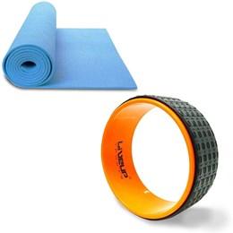 Anel de Yoga e Pilates LIVEUP LS3750 Exercícios Magic Circle + Colchonete de Yoga Azul LS3231B