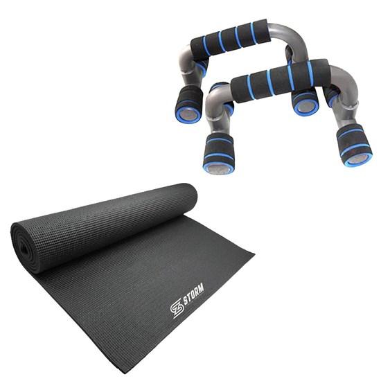 Apoio para Flexão de Braço Azul + Tapete Colchonete de Yoga e Pilates ZStorm
