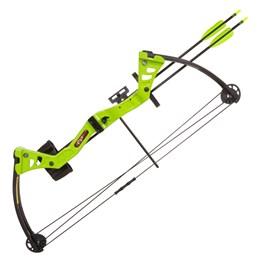 Arco Composto Man Kung Besra 19 até 25 Libras Verde com Aljava e Flechas