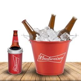 Balde de Gelo Budweiser 5L com Abridores Acoplados + Porta Garrafa Budweiser