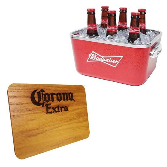 Balde de Gelo Budweiser Ambev 5 Litros + Tábua de Madeira Corona Extra 24,5 x 17,5 cm