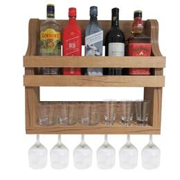Bar Adega de Parede Deoch Rústico em MDF Amadeirado para 6 Garrafas e 5 Taças