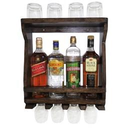 Bar Adega de Parede em Madeira Rústica Ipê para 4 Garrafas e 4 Taças e 4 Copos