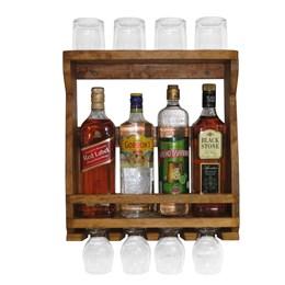 Bar Adega de Parede em Madeira Rústica para 4 Garrafas e 4 Taças e 4 Copos