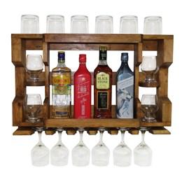 Bar Adega de Parede em Madeira Rústica Pinus Imbuia para 4 Garrafas e 6 Taças