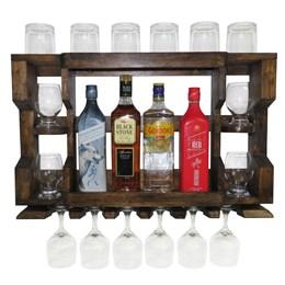 Bar Adega de Parede em Madeira Rústica Pinus Ipê para 4 Garrafas e 6 Taças