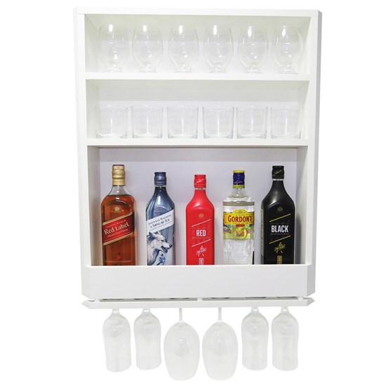 Bar Adega Parede MDF Branco 3 Compartimentos e Porta Taças