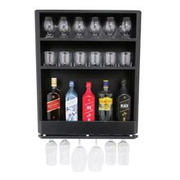 Bar Adega Parede MDF Preto 3 Compartimentos e Porta Taças