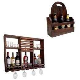 Bar Adega Rústico de Parede Art Madeira até 8 Garrafas + Cesta Artesanal Porta Bebidas 3 Garrafas