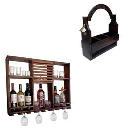 Bar Adega Rústico de Parede Art Madeira até 8 Garrafas + Cesta Porta Cervejas Artesanais 3 Garrafas